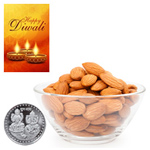 Nourishing Almonds With Silver Plated Coin And Diwali Card to Diwali_canada.asp