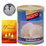 Appetizing Bikano Rasgulla With Silver Plated Coin And Diwali Card to Diwali_canada.asp