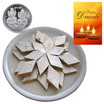 Flavorous Kaju Katli With Silver Plated Coin And Diwali Card to Diwali_canada.asp