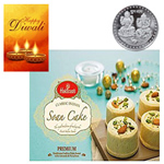 Scrummy Soan Cake From Haldiram With Silver Plated Coin And Diwali Card to Diwali_canada.asp