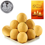 Scrumptious Besan Laddoo With Silver Plated Coin And Diwali Card to Diwali_canada.asp