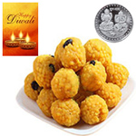 Piquant Bundi Laddoo With Silver Plated Coin And Diwali Card to Diwali_canada.asp
