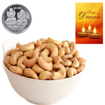 Healthy Delicious Cashews With Silver Plated Coin And Diwali Card to Diwali_canada.asp