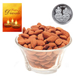 Health-Giving Almonds With Silver Plated Coin And Diwali Card to Diwali_canada.asp