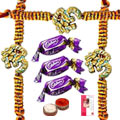 OM Rakhi with Chocolates  and Message card to Rakhi_to_canada.asp
