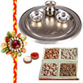 Silver Thali with Dryfruits with One Rakhi to Rakhi_dry_canada.asp