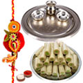 Silver Thali with Assorted Roll with One Rakhi to Rakhi_thali_canada.asp