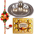 Silver Thali with 12 Piece Ferrero Rocher with Rakhi to Rakhi_to_canada.asp