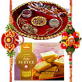 Rakhi Thali with 2 Rakhi�and  Kaju Barfi to Rakhi_to_canada.asp