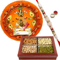 Beatific Rakhi With Pooja Thali And Mixed Dry Fruits to Rakhi_dry_canada.asp