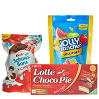 Magical Chocolate Hamper of Chocopie, Kinder Joy Schoko Bons  N Jolly Rancher Lolly Pop to Annur