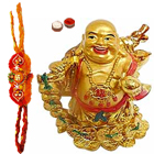 Laughing Buddha with 2 free Rakhi to Cochin