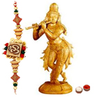 Sandalwood Lord Krishna with 1 Free Rakhi to Cochin