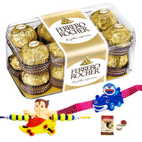 Mouth Watering Ferrero Rocher Chocolates with Free 2 Rakhi, RoliTilak and Chawal to Dehradun