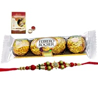 A 5 pcs Ferrero Rocher Chocolate Pack with Rakhi and Roli Tilak Chawal to India