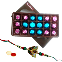Mouthwatering Pack of 18pcs Assorted Homemade Chocolate with Rakhi and Roli Tilak Chawal to India