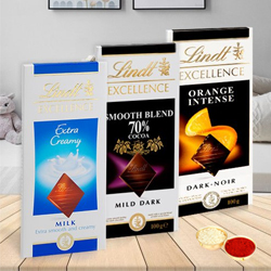 Chocolate Ecstasy with Lindt Bars of Chocolates with free Roli Tilak and Chawal to Bangalore