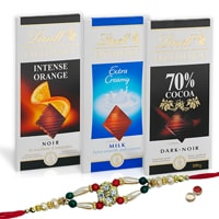 Enjoy with Lindt Chocolate Bars with Rakhi and Roli Tilak Chawal to India