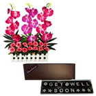 Get Well Soon Assorted  Homemade Chocolates with Stylish Faux Orchids Arrangement to Tumkur