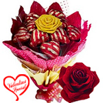 Delicious 12 Pcs Heart Shaped Chocolates Bouquet to New Delhi