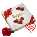 Rich Belgian Chocolates  with a velvet Rose Love Fantasy to New Delhi
