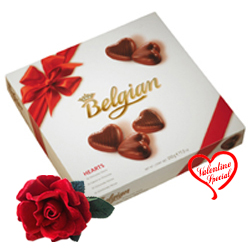 Rich Belgian Chocolates  with a velvet Rose Love F... to Faridabad
