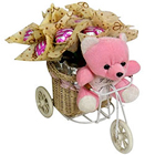 Marvelous Teddy on Tricycle with Lip Smacking Chocolates to Cochin