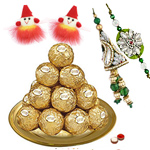 Daintily Arranged Ferrero Rocher Chocolates in a Golden Plated Thali with Family Set of Rakhi and Roli Tilak Chawal to Cochin