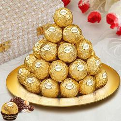Dexterously Sequenced Ferrero Rocher Chocolates in a Golden Plated Thali to Bareta