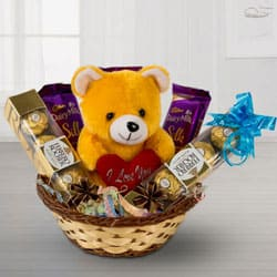Delicious Chocolates with Lovely Teddy to Adoni