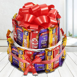 Special Double Deck Arrangement of Assorted Cadbury n Nestle Chocolates to Adoni