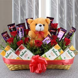 Wonderful Basket of Chocolates with Fruit Juice N Teddy to Adugodi