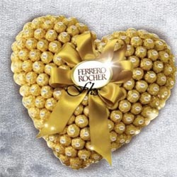 Remarkable Heart Shaped Arrangement of Ferrero Rocher Chocolate to Adoni
