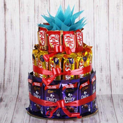 Enticing 3 tier Arrangement of Assorted Chocolates to Behrampur