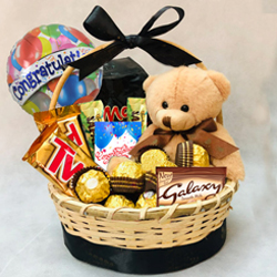 Delectable Gift Basket of Chocolates N Teddy to Ambalamugal