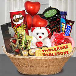 Tasty Chocolate Gift Basket with Teddy N Balloons to Adoni