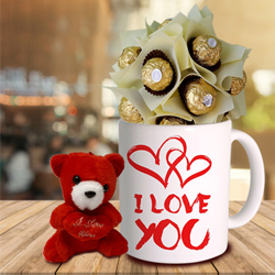 Combo of Ferrero Rocher with Teddy N Personalized Coffee Mug to Bangalore