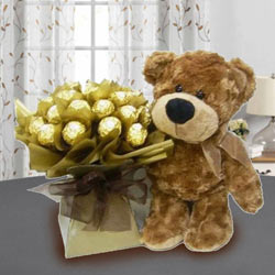 Marvelous Brown Teddy with Ferrero Rocher Chocolate to Annur