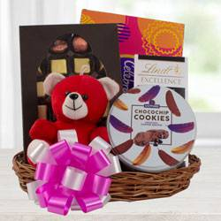 Marvelous Chocolate Gift Basket with Teddy to Adilabad