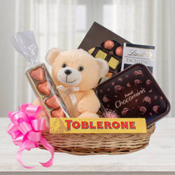 Delectable Chocolate Hamper with Teddy to Aluva