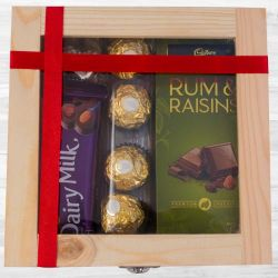 Delightful Wooden Gift Box of Assorted Chocolates to India
