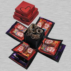 Romantic 3 Layered Explosion Box of Roses N Chocolates to Almora