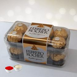 Scrumptious Ferrero Rocher Chocolates box with free Roli Tilak and Chawal to Aluva