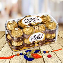 16 pcs Ferrero Rocher Chocolate Pack with Rakhi and Roli Tilak Chawal to Bhagalpur
