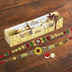 4 pcs Ferrero Rocher Chocolate Pack with 2 Rakhis and Roli Tilak Chawal to Mandia