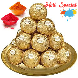 Dexterously Sequenced Ferrero Rocher Chocolates in a Golden Plated Thali to Allahabad