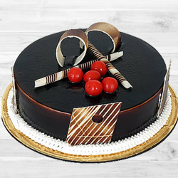 Tasty delicious dark Chocolate Truffle Cake to Cochin