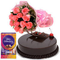 Cadbury Celebrations Pack with Chocolate Cake N Pink Roses to Jaipur