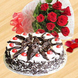 Elegant Black Forest Cake with a Bunch of Red Roses to Miraz
