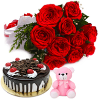 Artful Arrangement of Small Teddy with Red Roses Bunch & Black Forest Cake to Amlapuram
